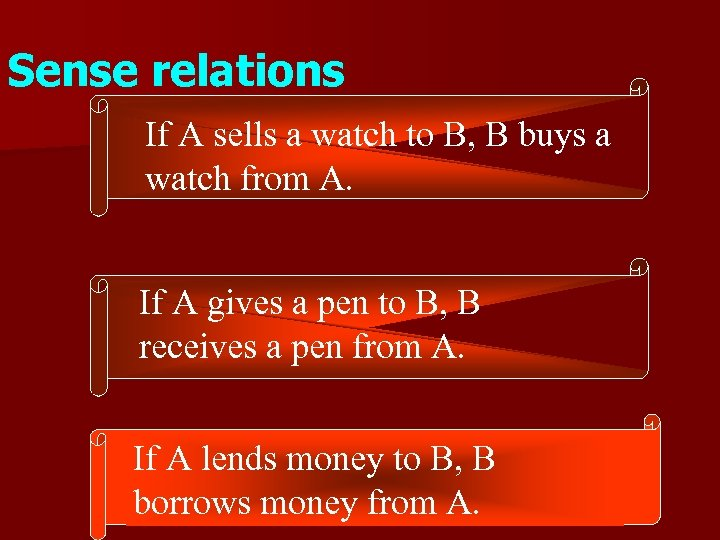 Sense relations If A sells a watch to B, B buys a watch from