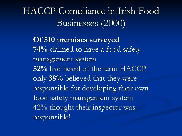 HACCP Compliance in Irish Food Businesses (2000) Of 510 premises surveyed 74% claimed to