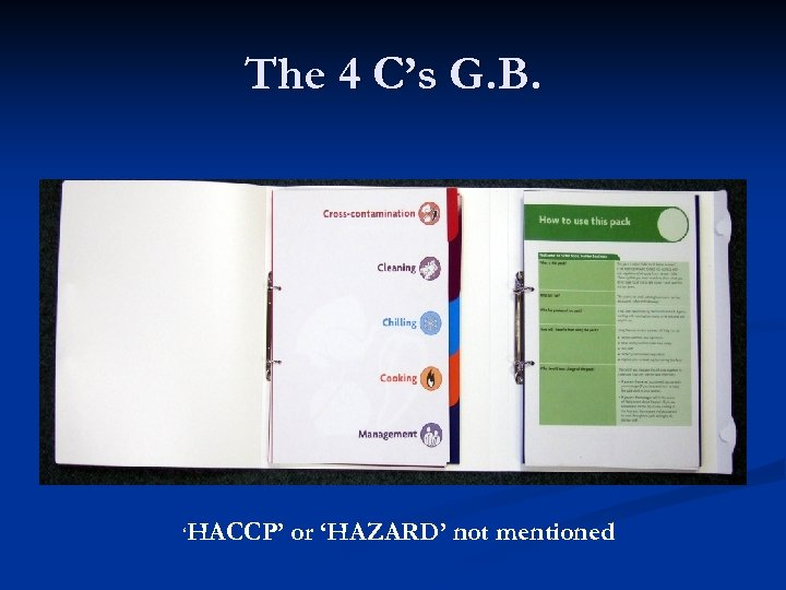 The 4 C's G. B. 'HACCP' or 'HAZARD' not mentioned