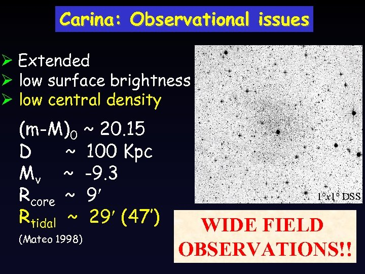 Carina: Observational issues Ø Extended Ø low surface brightness Ø low central density (m-M)0