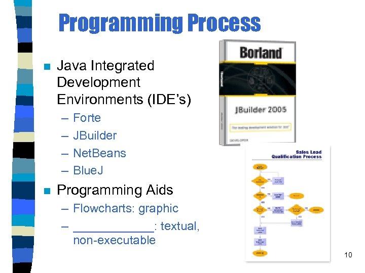 Programming Process n Java Integrated Development Environments (IDE's) – – n Forte JBuilder Net.