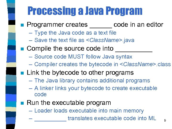 Processing a Java Program n Programmer creates ______ code in an editor – Type