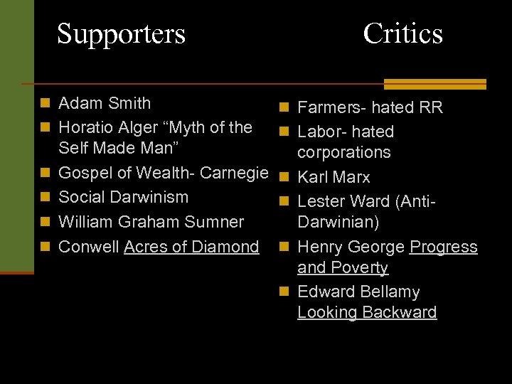 "Supporters Critics n Adam Smith n Farmers- hated RR n Horatio Alger ""Myth of"