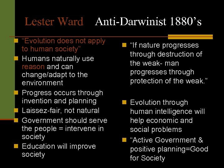 "Lester Ward Anti-Darwinist 1880's n ""Evolution does not apply n n n to human"