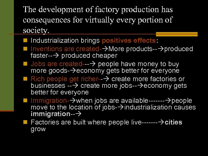 The development of factory production has consequences for virtually every portion of society. n