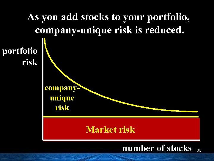 As you add stocks to your portfolio, company-unique risk is reduced. portfolio risk companyunique