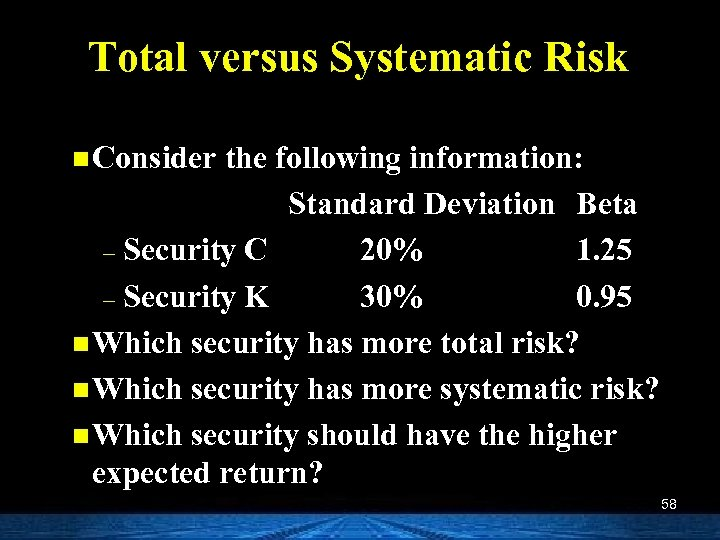 Total versus Systematic Risk n Consider the following information: Standard Deviation Beta – Security