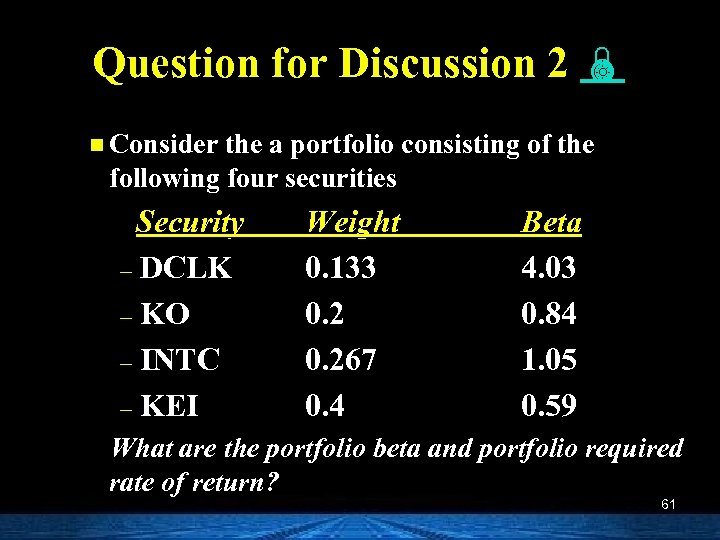 Question for Discussion 2 n Consider the a portfolio consisting of the following four