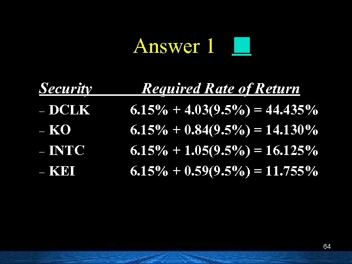 Answer 1 Security Required Rate of Return DCLK – KO – INTC – KEI