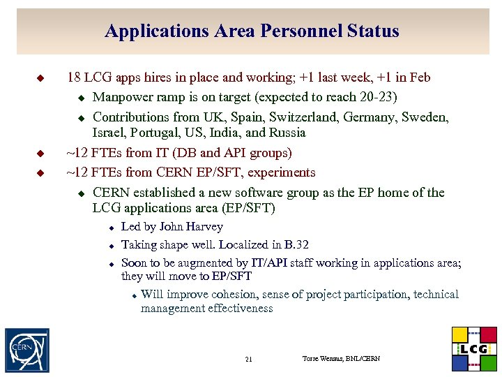 Applications Area Personnel Status u u u 18 LCG apps hires in place and