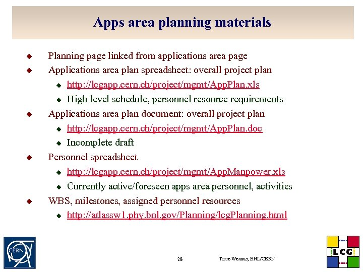 Apps area planning materials u u u Planning page linked from applications area page