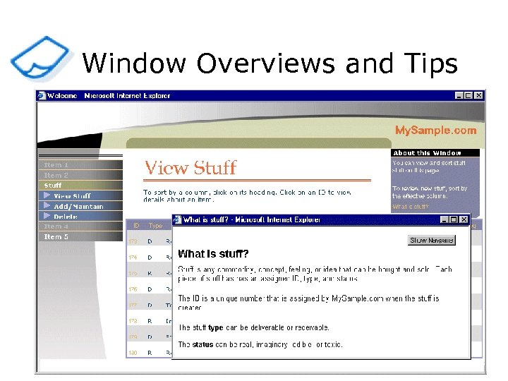 Window Overviews and Tips