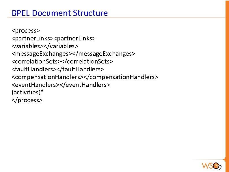 BPEL Document Structure <process> <partner. Links> <variables></variables> <message. Exchanges></message. Exchanges> <correlation. Sets></correlation. Sets> <fault.