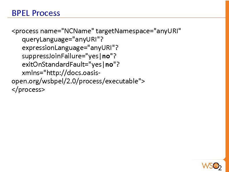 BPEL Process <process name=