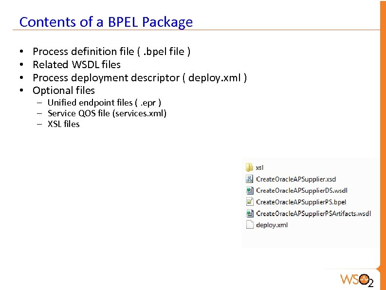 Contents of a BPEL Package • • Process definition file (. bpel file )