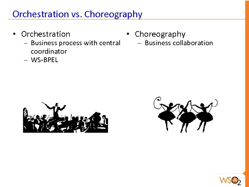 Orchestration vs. Choreography • Orchestration – Business process with central coordinator – WS-BPEL •