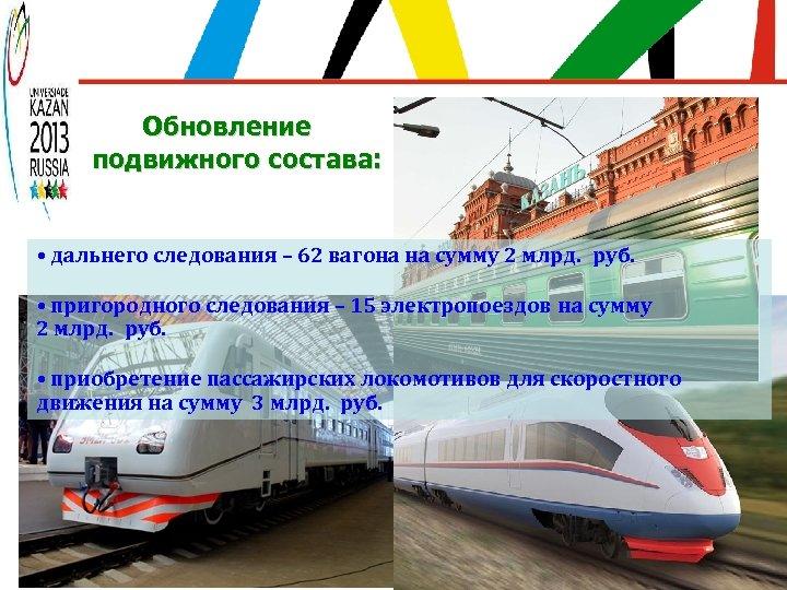 Обновление подвижного состава: • дальнего следования – 62 вагона на сумму 2 млрд. руб.