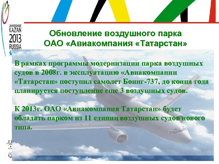 Обновление воздушного парка ОАО «Авиакомпания «Татарстан» В рамках программы модернизации парка воздушных судов в