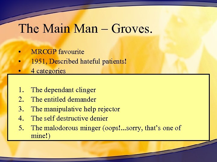 The Main Man – Groves. • • • MRCGP favourite 1951, Described hateful patients!