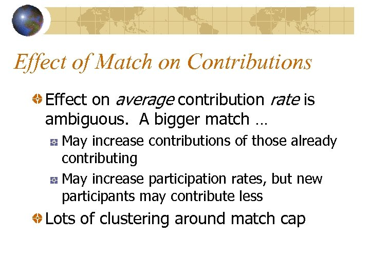 Effect of Match on Contributions Effect on average contribution rate is ambiguous. A bigger