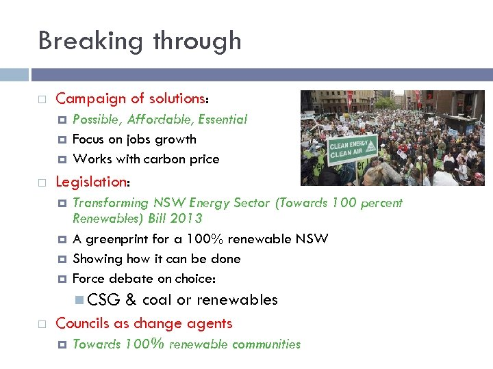 Breaking through Campaign of solutions: Possible, Affordable, Essential Focus on jobs growth Works with