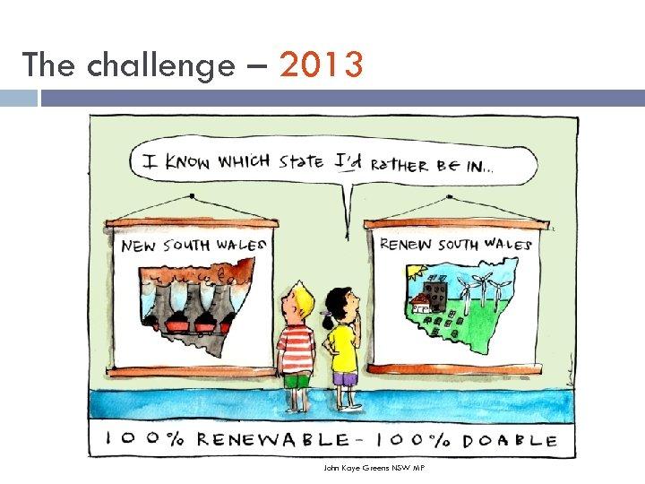 The challenge – 2013 John Kaye Greens NSW MP