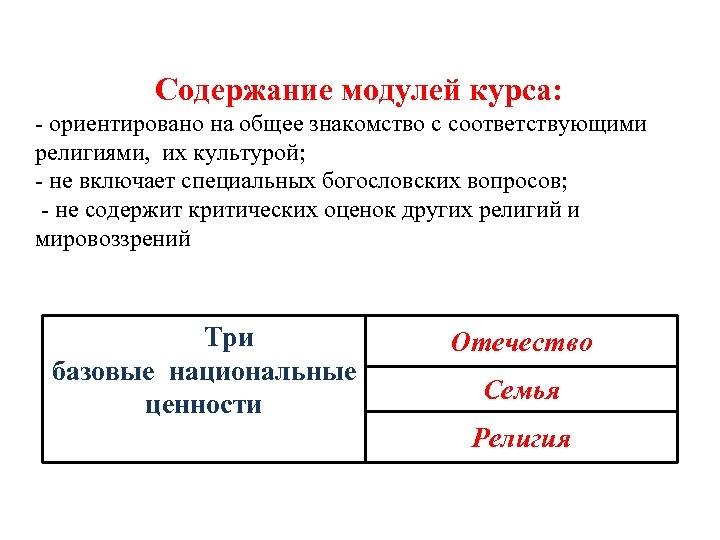 Содержание модулей курса: - ориентировано на общее знакомство с соответствующими религиями, их культурой;