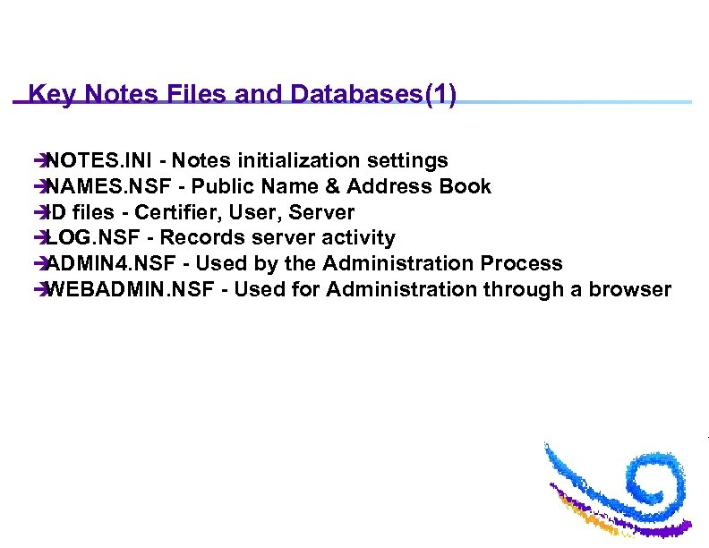 Key Notes Files and Databases(1) è NOTES. INI - Notes initialization settings è NAMES.