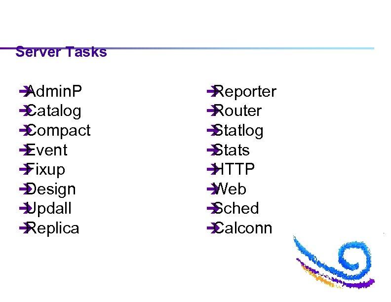 Server Tasks è Admin. P è Catalog è Compact è Event è Fixup è