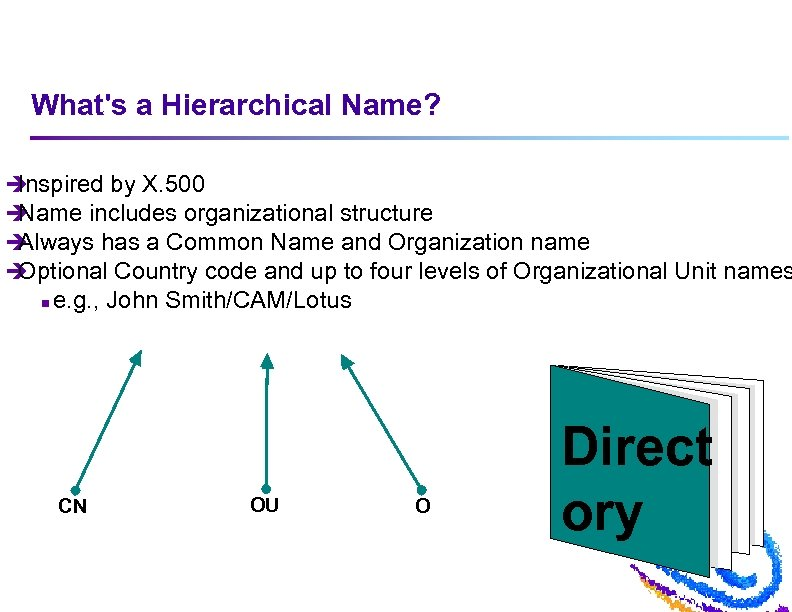 What's a Hierarchical Name? è Inspired by X. 500 è Name includes organizational structure
