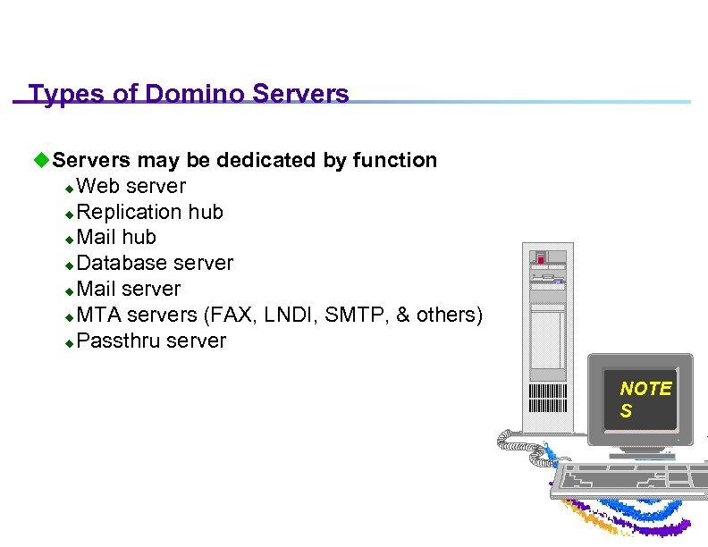 Types of Domino Servers u. Servers may be dedicated by function Web server u