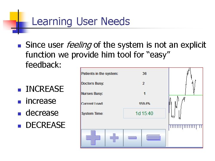 Learning User Needs n n n Since user feeling of the system is not