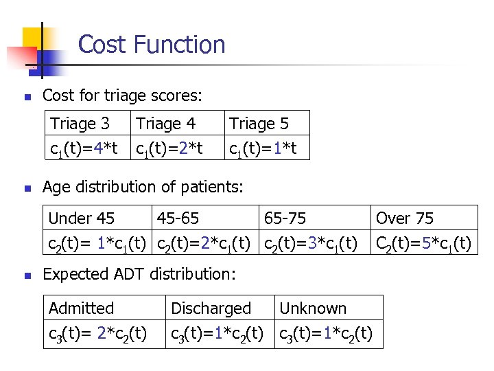 Cost Function n Cost for triage scores: Triage 3 c 1(t)=4*t n Triage 4