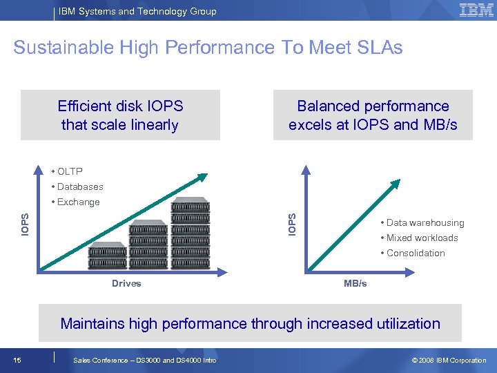 IBM Systems and Technology Group Sustainable High Performance To Meet SLAs Efficient disk IOPS