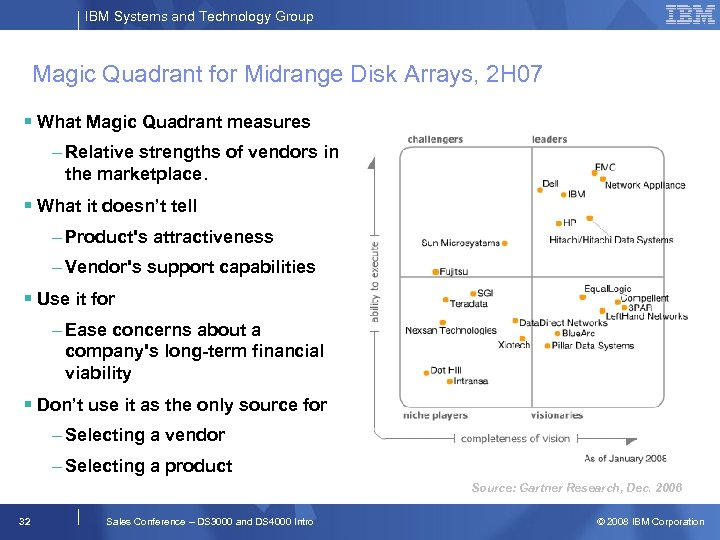 IBM Systems and Technology Group Magic Quadrant for Midrange Disk Arrays, 2 H 07