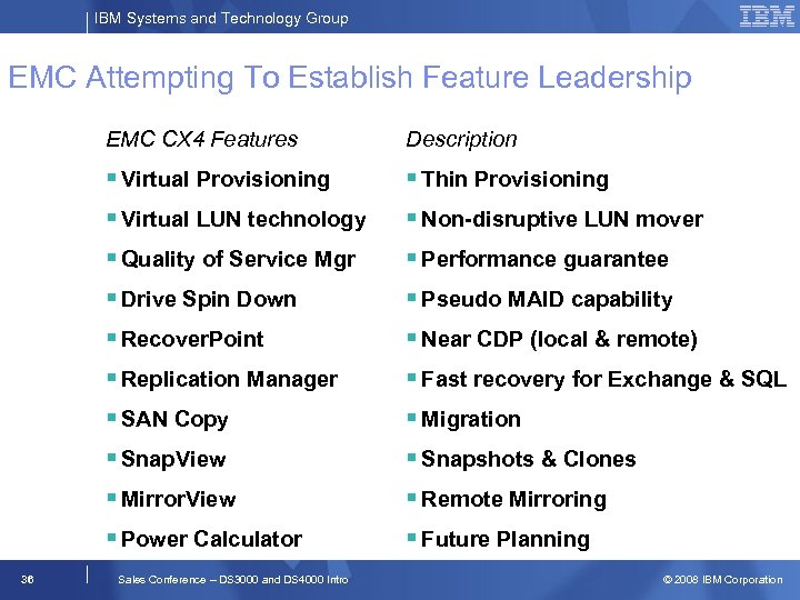 IBM Systems and Technology Group EMC Attempting To Establish Feature Leadership EMC CX 4