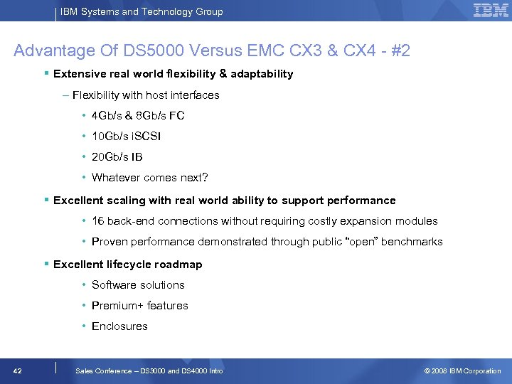 IBM Systems and Technology Group Advantage Of DS 5000 Versus EMC CX 3 &