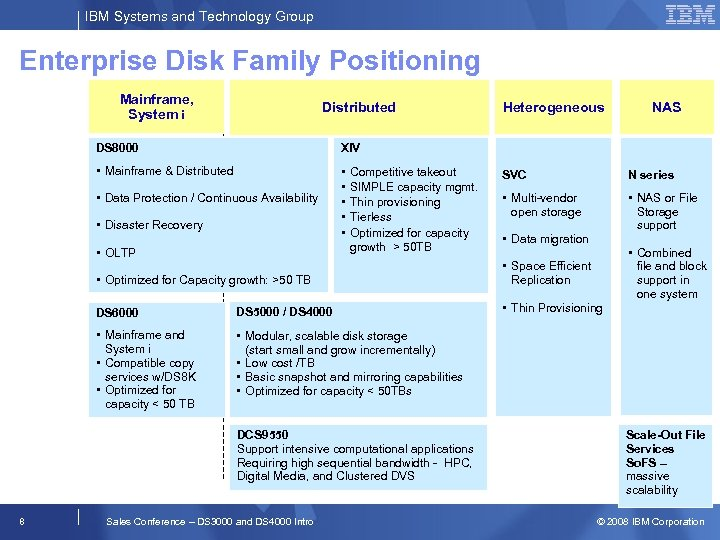 IBM Systems and Technology Group Enterprise Disk Family Positioning Mainframe, System i Distributed DS