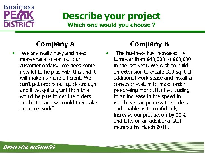 """Describe your project Which one would you choose ? Company A • """"We are"""
