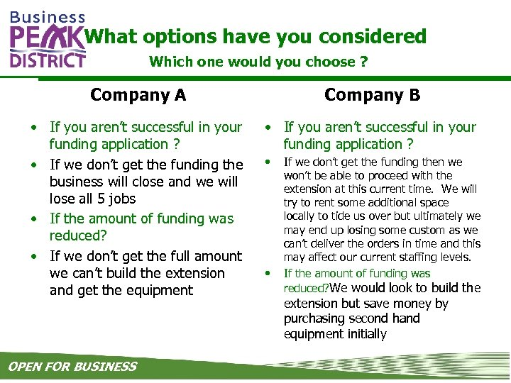 What options have you considered Which one would you choose ? Company A Company