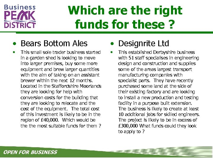 Which are the right funds for these ? • Bears Bottom Ales • Designrite