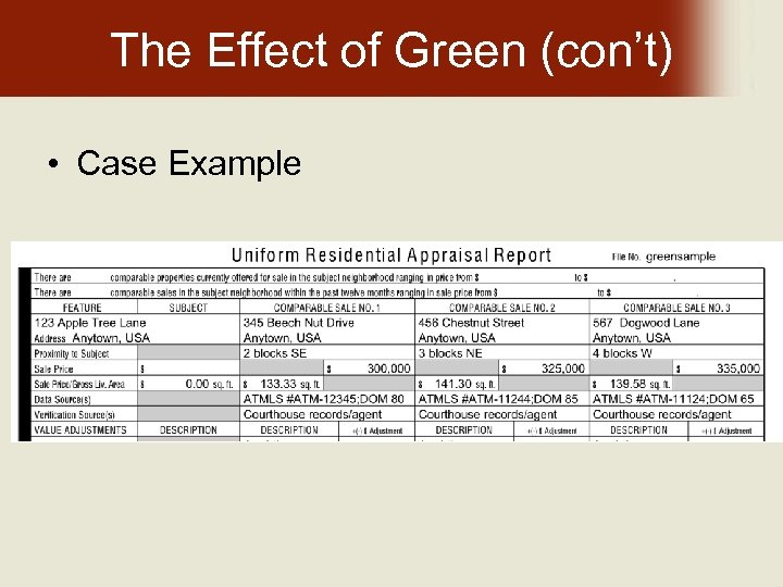 The Effect of Green (con't) • Case Example