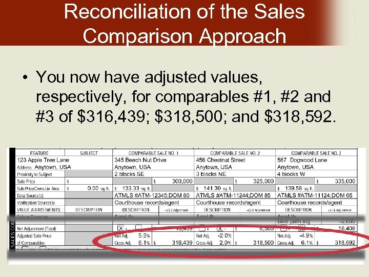 Reconciliation of the Sales Comparison Approach • You now have adjusted values, respectively, for