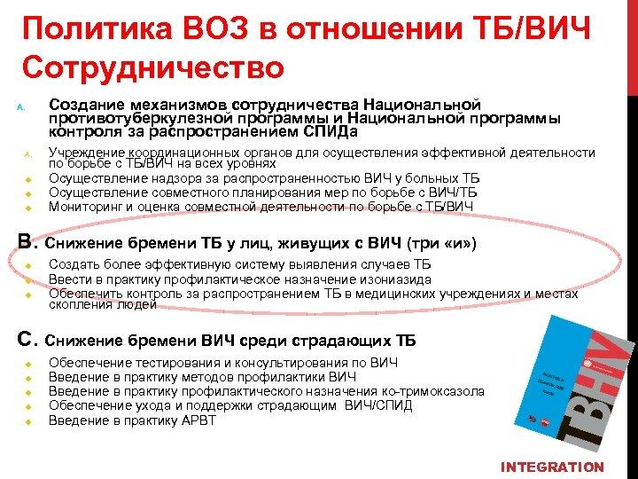 Политика ВОЗ в отношении ТБ/ВИЧ Сотрудничество A. u u u Создание механизмов сотрудничества Национальной