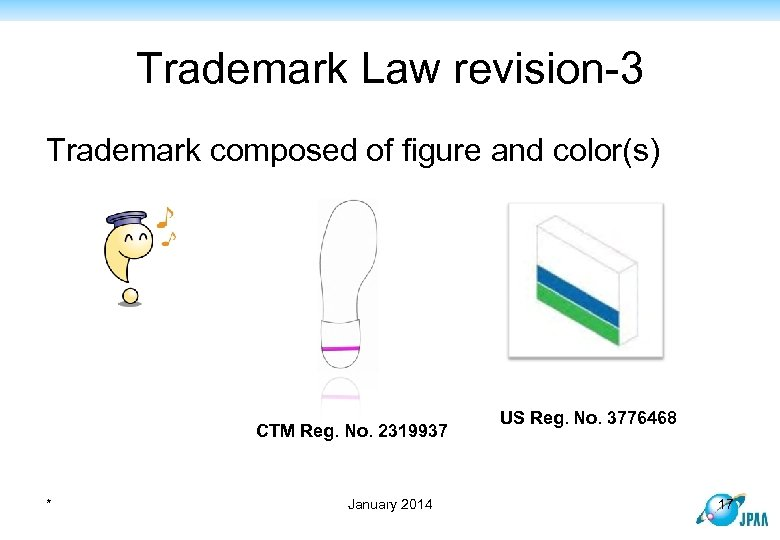 Trademark Law revision-3 Trademark composed of figure and color(s) CTM Reg. No. 2319937 *