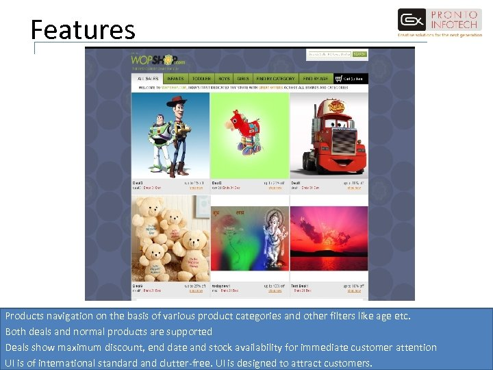 Features Products navigation on the basis of various product categories and other filters like