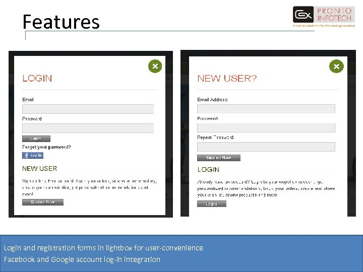 Features Login and registration forms in lightbox for user-convenience Facebook and Google account log-in