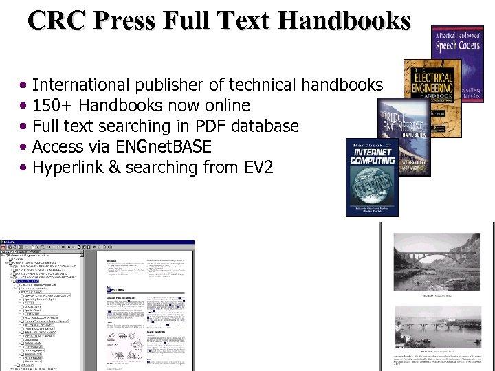 CRC Press Full Text Handbooks • • • International publisher of technical handbooks 150+