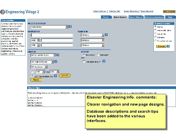 Elsevier Engineering Info. comments: Clearer navigation and new page designs. Database descriptions and search