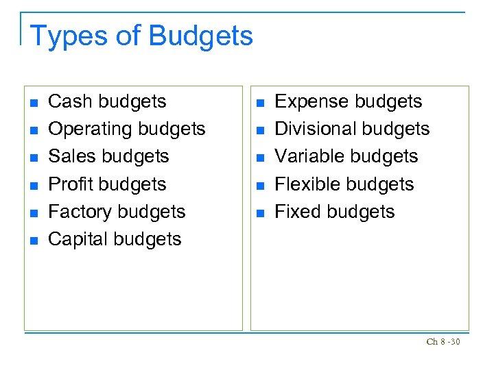 Types of Budgets n n n Cash budgets Operating budgets Sales budgets Profit budgets